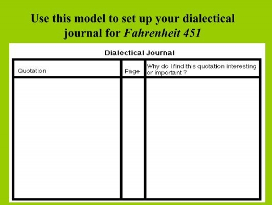 fahrenheit 451 dialectical journal Free dialectical journals fahrenheit 451 papers, essays, and research papers.