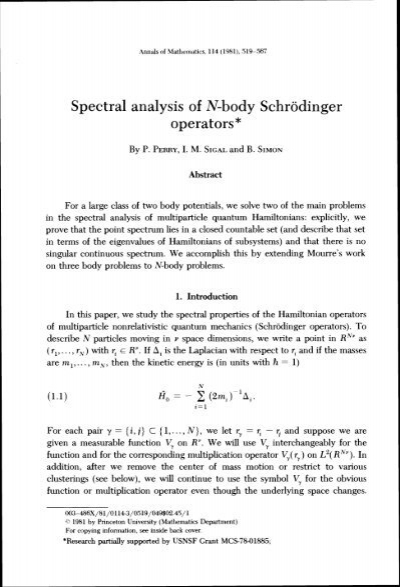 Spectral analysis of N-body Schrodinger operators* - Caltech