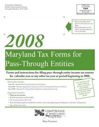 Maryland Tax Forms For Pass Through Entities The