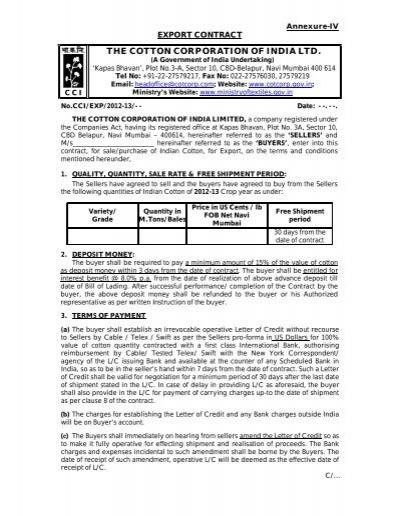Standard Export Contract Format AnnexureIV 4648 KB – Export Contract