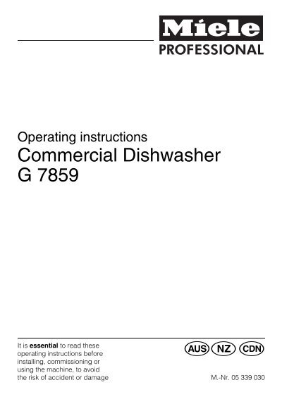 g7859 commercial dishwasher operating instructions miele ca rh yumpu com