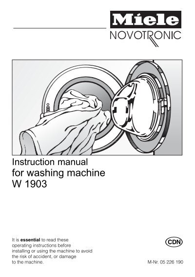 w1903 washer operating instructions 05226190 00 pdf miele ca rh yumpu com