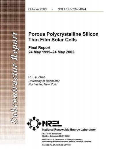 porous polycrystalline silicon thin film solar cells