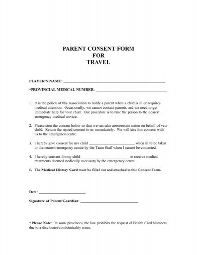 Doc12751650 Parental Consent to Travel Form Parental Consent – Parent Consent Forms