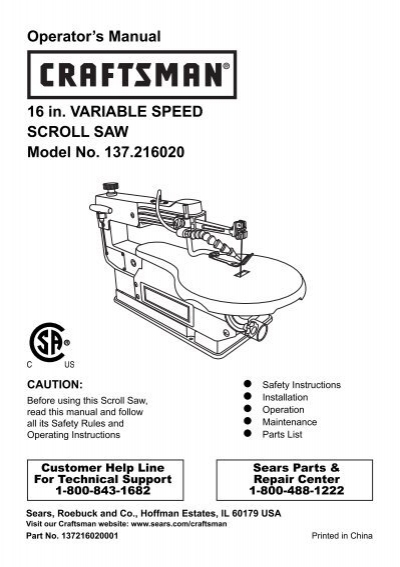 Operator's Manual 16 in. VARIABLE SPEED SCROLL SAW ... - Sears
