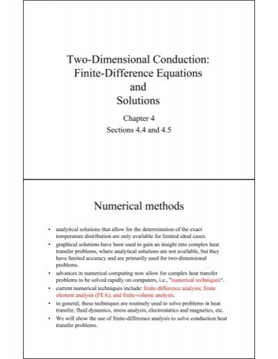 Two-Dimensional Conduction: Finite-Difference Equations and