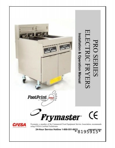 pro h series gas fryers service and parts manual frymaster pro serieselectric fryers frymaster
