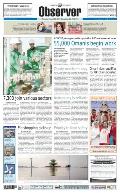From Page 1 Oman Observer
