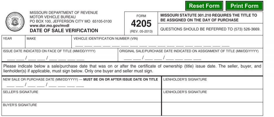 Dor 4205 Date Of Sale Verification Missouri Department