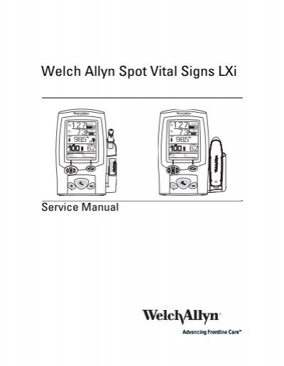 1145405 service manual for spot lxi ea welch-allyn -704432.