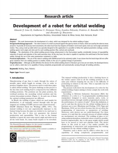 Development Of A Robot For Orbital Welding Emerald
