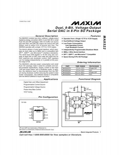 max522 dual  8-bit  voltage-output serial dac in 8-pin