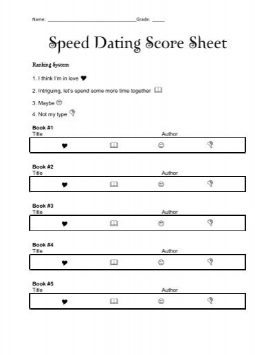 Speed dating match card template