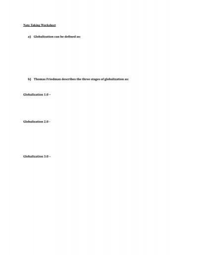 Note Taking Worksheet Unit 1