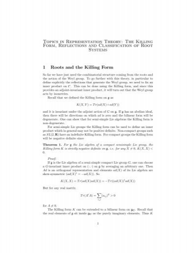 Topics in Representation Theory: The Killing Form, Reflections and ...