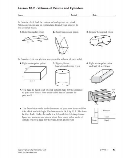 Lesson 102 Volume Of Prisms And Cylinders