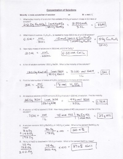 Worksheets Molarity Pogil Answer Key molarity molality
