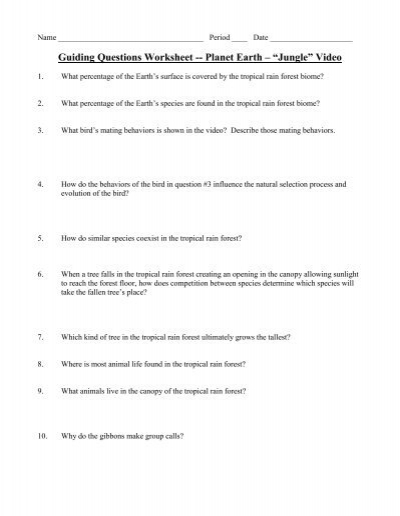 guiding questions worksheet planet earth jungle video. Black Bedroom Furniture Sets. Home Design Ideas