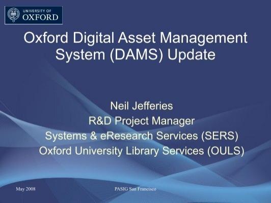Oxford digital asset management system dams update fandeluxe Images