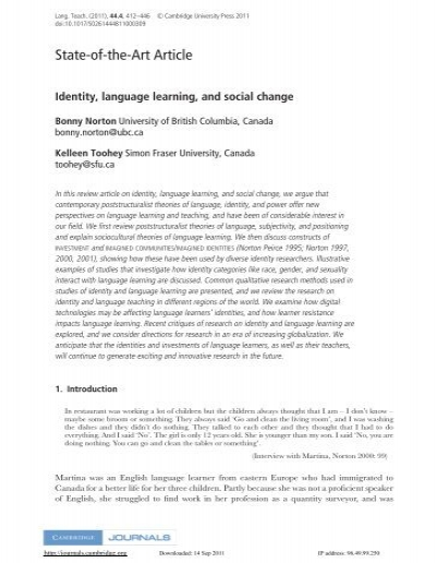 Identity, language learning, and social change  - Faculty of