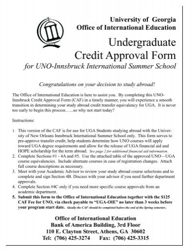 Uno Credit Approval Form 2007 Division Of International Education