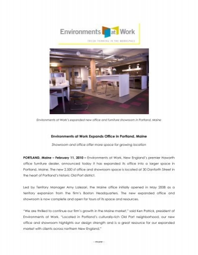 Environments At Work Expands Office In Portland, Maine