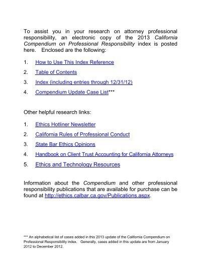 California Compendium on Professional Responsibility Index