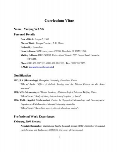 curriculum vitae international pacific research center university