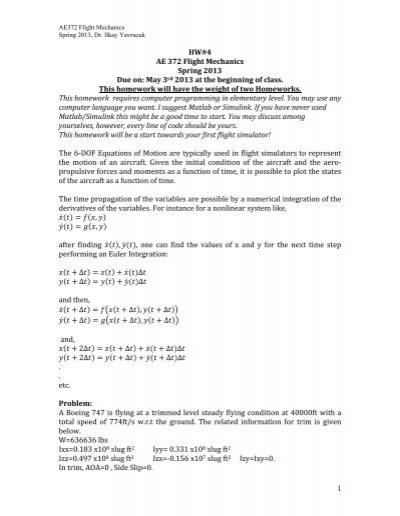 1 HW#4 AE 372 Flight Mechanics Spring 2013 Due on: May 3rd