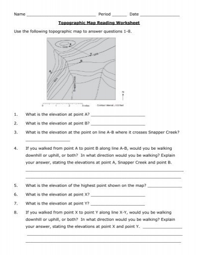 Printables Topographic Map Worksheet Answers reading topographic maps worksheet