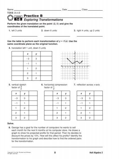 Solved  Date Introduction To Functions Transformations Of likewise Graph Transformations further Practice B 1 8 additionally bined Transformations Worksheets in addition Free Worksheets Liry   Download and Print Worksheets   Free on together with Linear Relationships Activity Bundle Original 4 Free Worksheets For further Graphing Absolute Value Functions Worksheet – Absolute value graphs together with Practice Worksheet Transformations Of Functions Worksheets for all in addition Graphing Rational Functions by Transformations with answers   Name furthermore IXL   Transformations of functions  Alge 2 practice moreover Quiz   Worksheet   Linear   Absolute Value Function Transformation likewise  furthermore Parent Functions and Transformations Worksheet 29 Great Free Graph in addition Precal Files  Function Transformations   positions  and Inverses together with Unit 3   Lesson 3 additionally Study Guide and lntervention. on transformations of functions practice worksheet