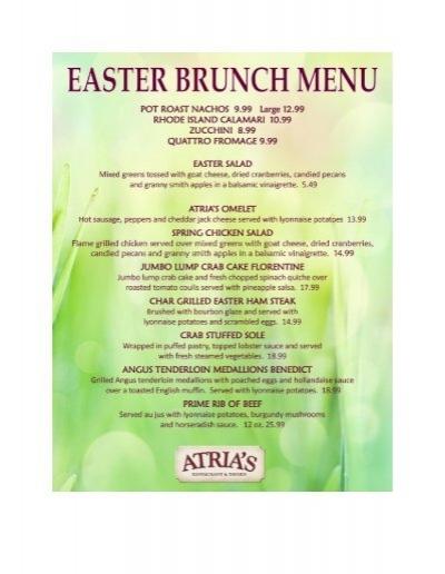 Easter brunch menu atria 39 s restaurant and tavern for Easter brunch restaurant menus