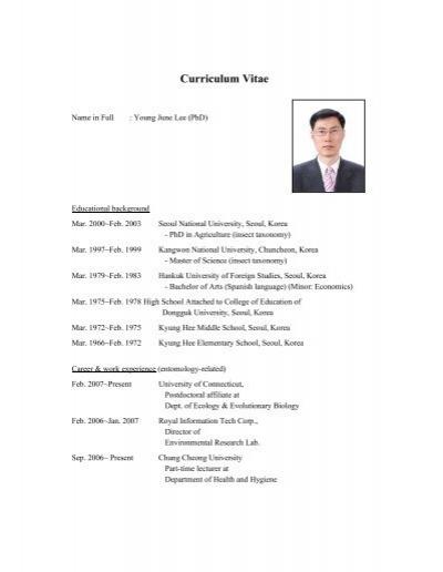 curriculum vitae - ecology  u0026 evolutionary biology