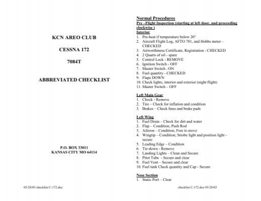 cessna 172 annual inspection checklist pdf