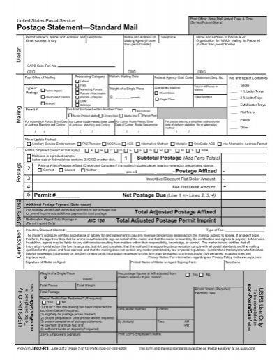 Postage Statement—Standard Mail - USPS.com