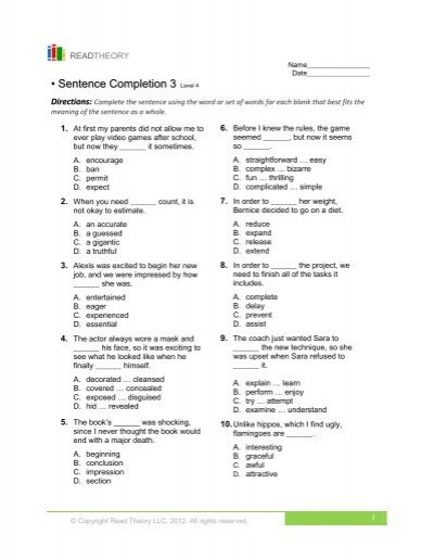 Sentence Completion 3 - English for Everyone