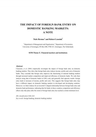 impact of foreign banks on banking