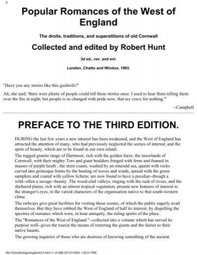 Popular Romances Of The West Of England Preface Alternative