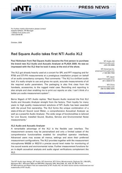 Red Square Audio takes first Nti Audio XL2
