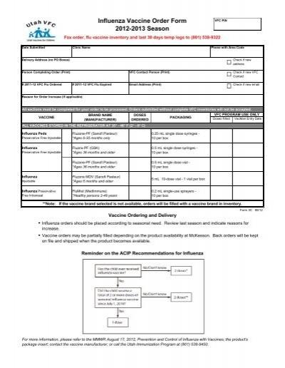 Influenza Vaccine Order Form  Immunize Utah