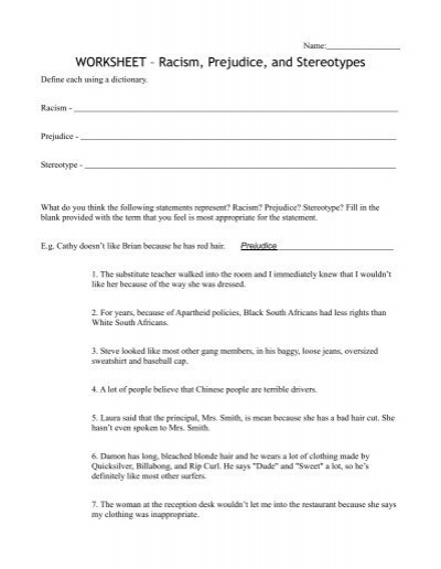 stereotypes and prejudice worksheet 11 essay Stereotypes essays and research papers | examplesessaytodaybiz associate program material stereotypes and prejudice worksheet 42 11-01-10 stereotypes.