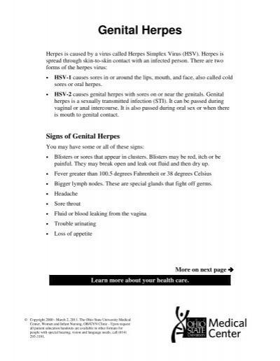 Herpes Simplex Virus - Patient Education Home