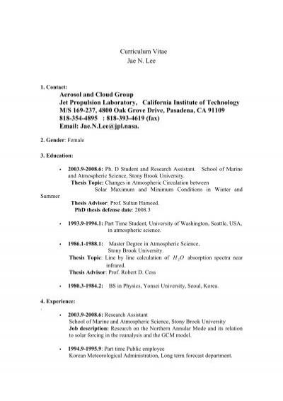Curriculum Vitae Jae N Lee Aerosol And Cloud Science Nasa