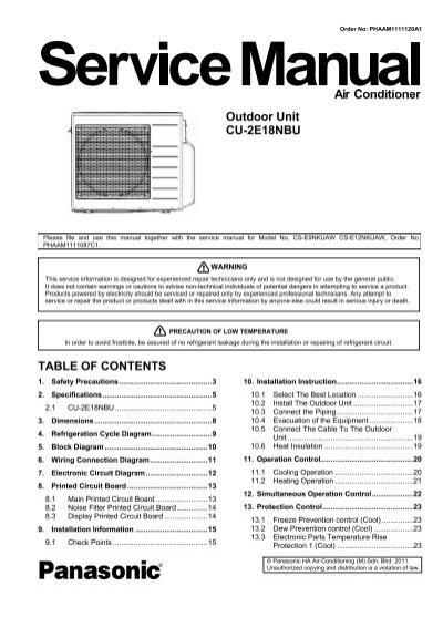 outdoor unit cu 2e18nbu table of contents panasonic rh yumpu com Panasonic Manual Ra 6800 Manual Panasonic Radio