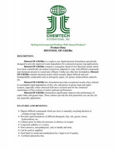 Histosol BIOGRZBio - Chemtech International Inc