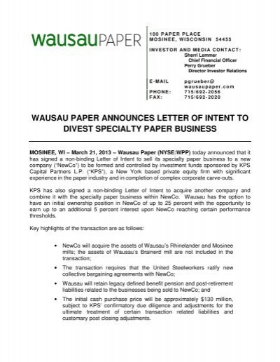 Wausau paper announces letter of intent to divest specialty paper spiritdancerdesigns Images