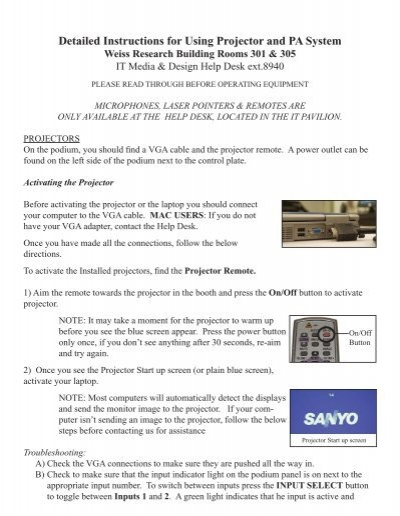 Detailed Instructions for Using Projector and PA System