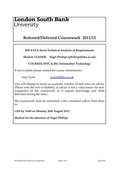 lsbu referred coursework
