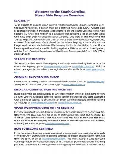 SC Nurse Aide Program Overview - Pearson VUE