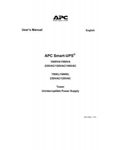 APC SUA1000 User Manual.pdf - SynnexYumpu